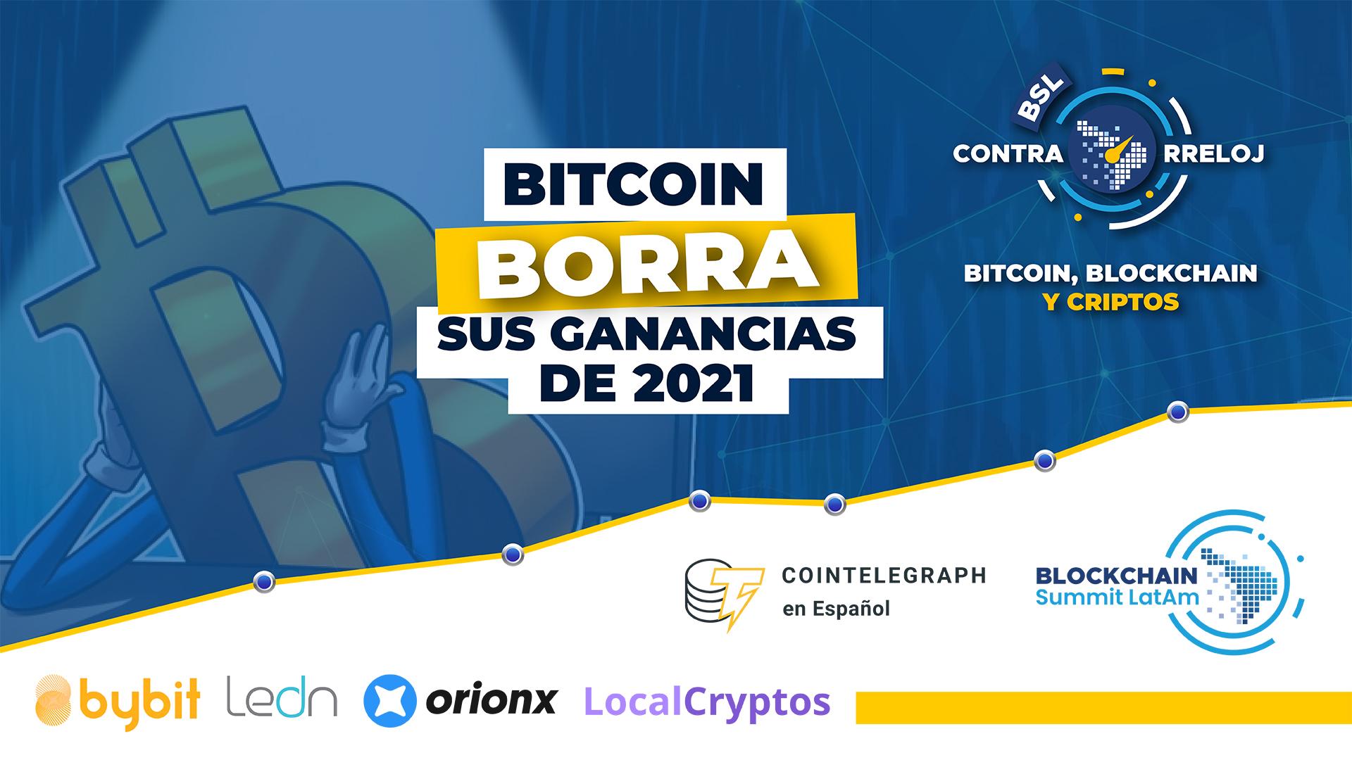 bslContrarreloj Bitcoin borra ganancias de 2021, regulación wallets UE, 4ta caída dificultad